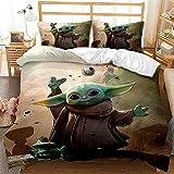 Zkdt Baby Yoda Juego de ropa de cama para niños, suave y cómoda, de microfibra, juego de 3 piezas