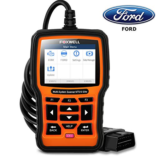 FOXWELL NT510 Elite Bidirectional Scan Tool for Ford Lincoln Mercury, Full-System HVAC 4WD Diagnostic OBD2 Scanner Car Code Reader with ABS Auto Bleed TPMS SAS TPS Active Test and Battery Registration