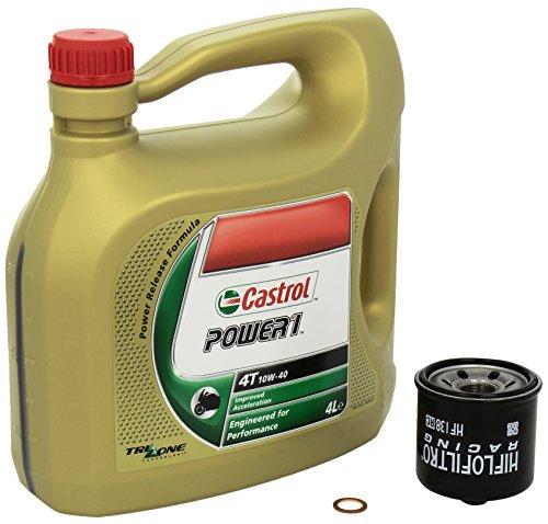 Castrol Power1 (10W-40) Ölwechsel-Set  Intruder M 1800 R (VZR 1800 R), Bj. 06-13 - Motoröl, HiFlo Racing Ölfilter und Dichtring