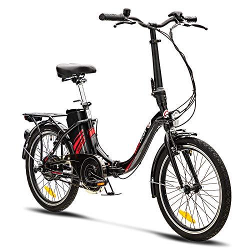 VecoCraft Nemesis Elektro Klapprad,E Bike 20 Zoll,E-Folding Bike mit ausziehbarer Baterrie 36V 7.8AH, 250W Motor, tragbares E-Bike Klapprad ebike Herren e Bike Damen mit niedrigem Rahmen, Schwarz