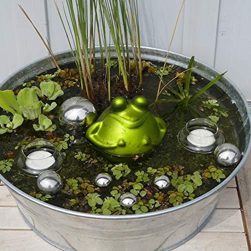 Gartenzaubereien Schwimmfrosch mit silbernen Schwimmkugeln und Schwimmschalen