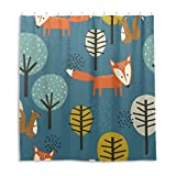 Orediy Wasserdichter Duschvorhang Füchse Eichhörnchen Bäume 100prozent Polyester Anti Schimmel Badvorhang mit 12 Haken für Badezimmer Dekor 168 x 183 cm