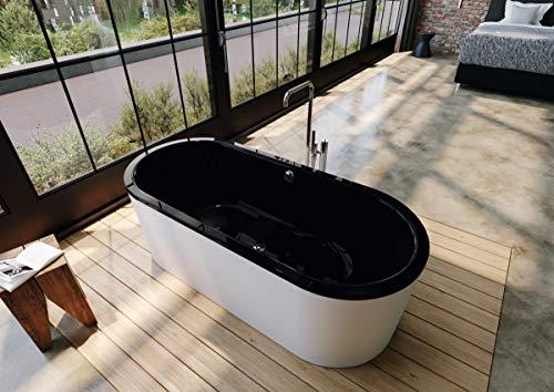 Kaldewei Meisterstück Classic Duo Oval, freistehende Badewanne, 170x75x42 cm, mit Schürze Außenfarbe alpinweiß, 113-7, Farbe: Schwarz - 291449230701
