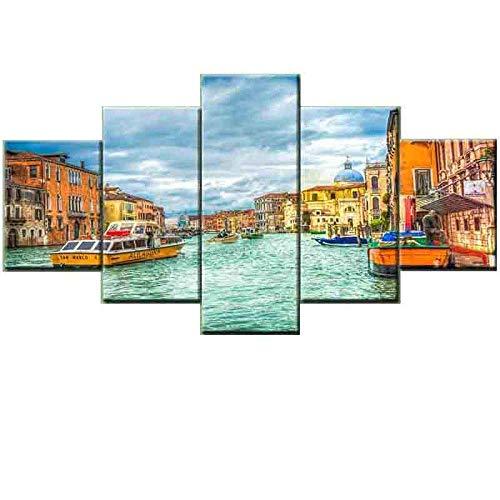 YZjk Landscape Beach Dekorative Malerei, Malerei Rahmenlose Malerei Leinwand Malerei Core 5 Pieces dekorative Malerei Wohnzimmer Schlafzimmer Büro Modern/B / 90 * 150cm