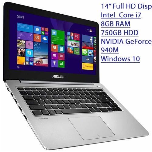 2016 Asus K Series 14' Ultra Slim 1920 x 1080 Full HD Laptop, Intel Core i7-5500U Processor, 8GB RAM, 750GB HDD, NVIDIA GeForce 940M, Webcam, WIFI, HDMI, Windows 10