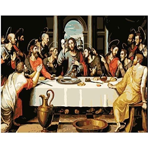 Verf op nummers voor volwassenen Jezus en de gelovigen digitale oliedoek schilderij kits voor volwassenen kinderen…