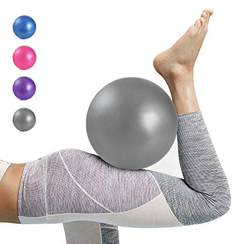 Kalovin Pilates Ball, Mini Exercise Ball, Barre Ball, 9 Inch Small Slip Resistant Balls with Inflatable Straw for Yoga, Pilates, Barre, Physical Therapy, Stability Exercise Training Gym (03.Gray)