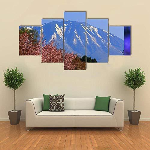NNNLX Cuadro En Lienzo Arte De La Pared Moderno Posters Decoración para El Hogar 5 Piezas montañas con cerezos HD Wall Art Imágenes Sala Decoración