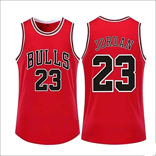 Jordan #23 Chicago Bulls Michael Mesh-Stoff, transparent, Basketballuniform, Feuchtigkeitsableitende Basketballweste, ärmellos-Rot