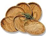 Figura Santa Conjunto de Platos LAMAMMA 19 cm de Madera de Olivo. 6 Piezas. Finamente veteados. Calidad Original