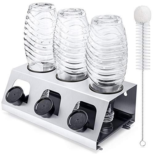 Luxebell Soda Flaschenhalter, 3er Abtropfhalter Soda Flasche aus Edelstahl mit Herausnehmbare Tropfschale Abtropfgestell für SodaFlasche und Glas Flaschen
