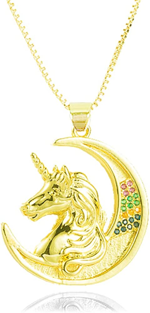 YOUJINYU Unicorn Necklace for Little Girl Unicorn Jewelry for Teen Girls Crescent Moon Necklace for Women