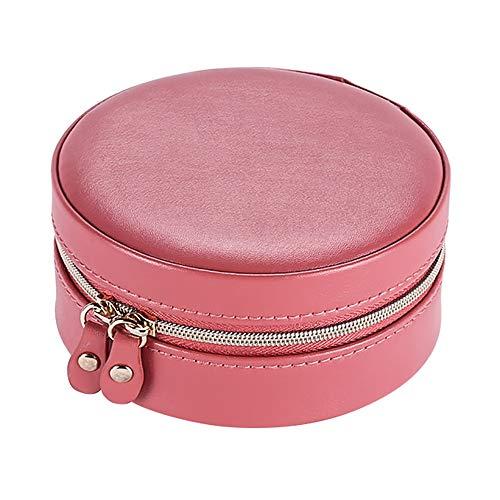 Yuzhijie Caja redonda de almacenamiento de joyas | Caja de joyería portátil de viaje | Pequeños pendientes compactos anillo rojo bolsa de almacenamiento, rojo