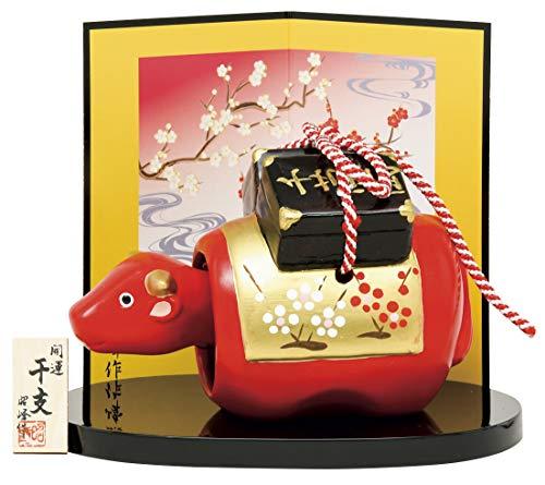 瀬戸陶芸社 2021年 干支 開運 金彩 赤べこ 丑 (特大) 日本製 昭峰窯 144 高さ10.3×横15×奥行8.8cm