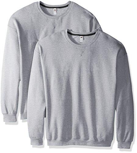 Fruit of the Loom Men's Crew Sweatshirt (2 Pack), Athletic Heather, X-Large