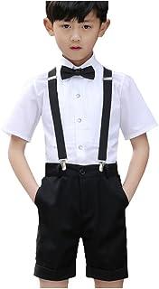 Goodparty 男の子フォーマル 子供服 チェック柄 スーツ 半袖 サスペンダー 付き 洋服 紳士服 結婚式 4点セット