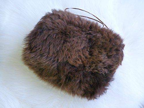 Natur-Fell-Shop Muff/Handwärmer aus echtem Lammfell/m. Kleiner Innentasche/braun