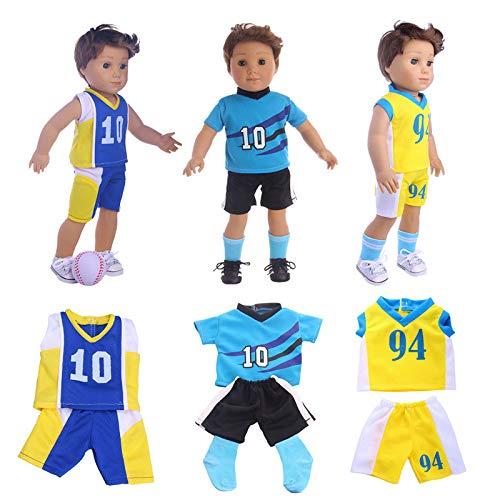 1pc Puppenkleidung Fußball Kleidung Schuhe Anzug Fit 18 Zoll Amerikanische Puppe 43 cm Baby Doll Für Unsere Generation des Mädchens Zufall Stil