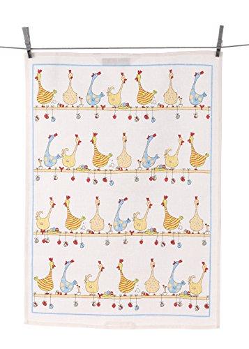 Triolino Halbleinen Geschirrtuch Hühner auf der Stange Format 50 cm x 70 cm