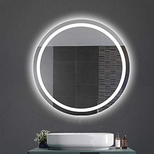 NMDD Espejo Redondo con luz LED Lavabo Redondo Baño de Pared Baño Inteligente Baño con luz Blanca/Luz cálida + Sin Interruptor táctil + Sin Niebla