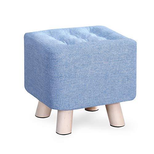 GCE Taburete otomano para Silla reposapiés tapizado puf bajo Cuadrado de Lino Asiento de Descanso Taburete para sofá con Funda extraíble y Pata de Madera Azul Al 29cm