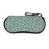Funda blanda de neopreno con diseño de corazón retro de pájaros, para viajes, con cremallera, bolsa para gafas