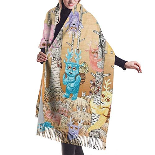 YTGHF Schal Bugaboo Forest Cute Deer Birds Cashmere Scarf for Women Men Lightweight Unisex Fashion Soft Winter Scarves Fringe Shawl Wrap