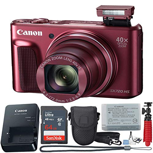 Canon PowerShot SX720 HS 20.3 MP Wi-Fi Digital Camera with 40x Optical Zoom & HD 1080p Video (Red) 11 Piece Value Bundle