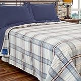 Poyet Motte Chevreuse Heavyweight Wool Blend Oversized Blanket, Machine Washable (Grey Plaid, Twin Size)