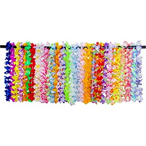 NUOBESTY Hawaiian Leis Necklace 36Pcs Hula Dance Garland Necklace Accessories Artificial Flower Necklace for Adults and Kids Holiday Wedding Birthday Decoration & Summer Party- Small Size