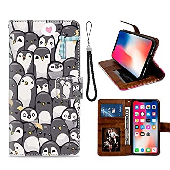 A Group of Penguins iPhone X Xs Wallet Case for Kickstand PU Leather Card Slot Magnetic Flip Wristlet Phone Cover iPhone X Xs Case A Group of Penguins