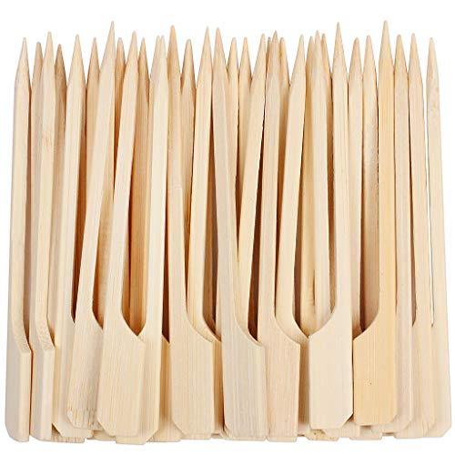 YICOTA Pinchos de Paleta de bambú, 100 Piezas de Palitos de cóctel, brocheta de Barbacoa, Palos Planos de bambú, Brochetas, Fruta, Champiñón, Sándwich, Cóctel, Bufé, Fiesta –9cm