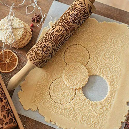 Zreal Rouleau à pâtisserie en Bois hêtre gaufrage Rouleau à Biscuits pâte à gâteau Rouleau à pâtisserie de Noël Outil à pâtisserie Cuisine gravé en Relief Décoration de Gâteaux