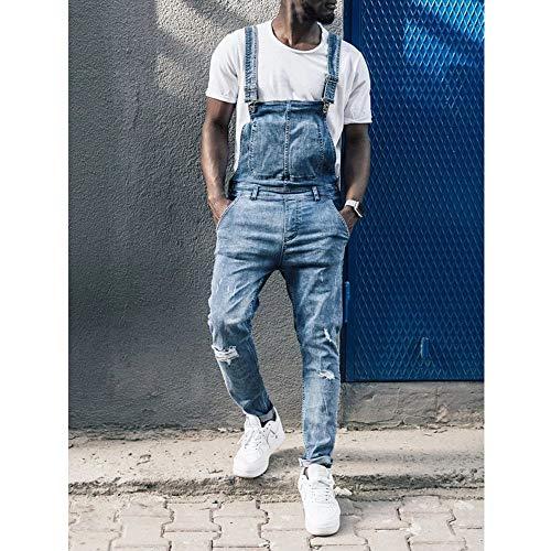 QQKLP 2019-2020 Mode zerrissene Jeans Herren Denim Stonewash Blau Latzhose Latzhose Overalls 30