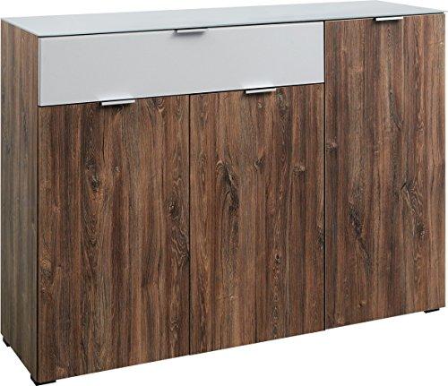 CS Schmalmöbel Solo 600 Kommode, Holz, Stirling Eiche/seidengrauglas matt, 42 x 136 x 99 cm