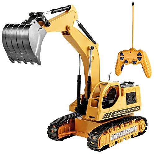 Toyard Remote Control Excavator Toy for Boys & Girls Excavator Toy for Toddlers Toy for Gifts Birthday Gift for Boys Toy Excavator with Flashing Lights (Upgrade Version), Yellow