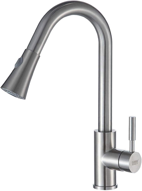 WOOMD WOOMD Pull Out Küchenarmatur Wasserhhne aus Edelstahl mit Magnetdusche, Spültischarmatur Wasserhahn mit Magnetausziehsprüher Küchenmischer Spültischarmatur (Nickel gebürstet)