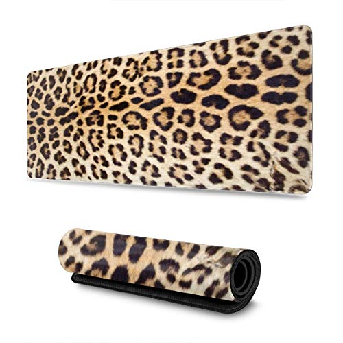 Leopard Or Cheetah Skin Gaming Mouse Pad XL, Extended Large Mouse Mat Desk Pad, Stitched Edges Mousepad, Long Non-Slip Rubber Base Mice Pad, 31.5 X 11.8 Inch