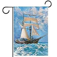 ホームガーデンフラッグ両面春夏庭屋外装飾 12x18INCH,海の帆船