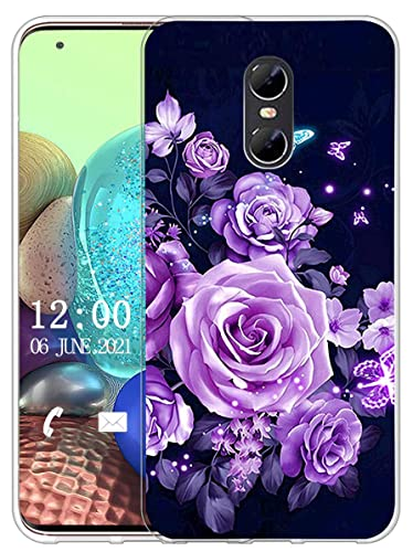 Sunrive Kompatibel mit Ulefone Gemini Hülle Silikon, Transparent Handyhülle Schutzhülle Etui Hülle (X Schmetterlinge und Rosen)+Gratis Universal Eingabestift MEHRWEG