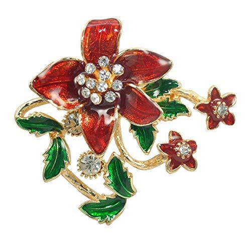 Gyn&Joy Red Cardinal Enamel Crystal Rhinestone Poinsettia Flower Garden Cluster Xmas Holiday Brooch Pin