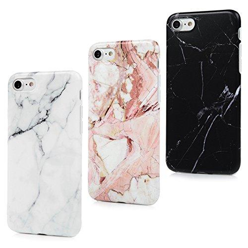 BADALink Hülle für iPhone 7 Marmor TPU Case [3 Packs] Cover Ultraslim Handyhülle Schutzhülle Silikon Bumper Schutz Tasche Matt Marble Schale Antikratz Backcover mit IMD Technologie in Schwarz