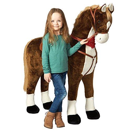 Pink Papaya Giant Riesen XXL Kinderpferd, Max, 125 cm Plüsch-Pferd zum reiten, Fast lebensgroßes Spielzeug Pferd zum Drauf sitzen, bis 100kg belastbar, mit verschiedenen Sounds, inkl. Kleiner Bürste