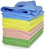 Premium Microfiber Cleaning Cloth by VibraWipe, 8-Pack, Large Size 14.2'x14.2', Super Soft, Trap Dust, Dirt and Pet...