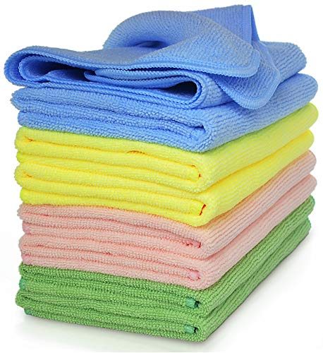 Premium Microfiber Cleaning Cloth by VibraWipe, 8-Pack, Large Size 14.2'x14.2', Super Soft, Trap Dust, Dirt and Pet Dander. Absorb up to 5X Their Weight in Liquid – Machine Washable and Lint-Free