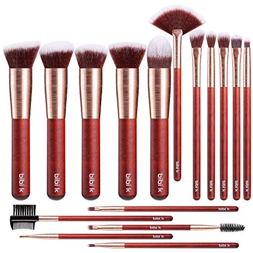 Bibi k Makeup Brushes 16pcs Brush Set Premium Synthetic Foundation Blush Concealer Eye Shadow Make Up Brushes Kit Wiredrawing Rose Gold