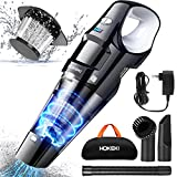 Car Vacuum Cleaner, HOKEKI Handheld Vacuum Cordless Rechargeable with LED Light Powerful Cyclonic Suction Portable Wet Dry Vac Cleaner for Home Pet Hair Car Cleaning, 3 Speeds, 5kPa