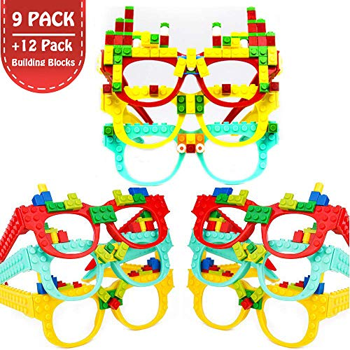 Party Favor for Kids Building Block Glasses DIY Stacking Block Bricks Party Glasses Toys Party Supplies Decorations for Birthday Christmas Carnival