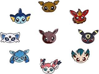 Pocket Monster Eevee Family Badge, Set of 9PCS Including Original Form and 8 Evolutionary Forms Including Box