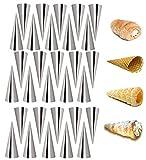 Holzsammlung Stampi da Forno a Forma di Cono per Croissant Salati, Set 30 Pezzi, Cannoli Siciliani Tubi Set in Acciaio Inox, Antiaderente Pasticceria Spiral Horn Torta Pane Maker Cottura Roll Mold